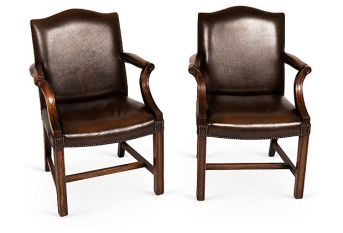 A PAIR OF GEORGIAN REVIVAL GAINSBOROUGH ARM CHAIRS AZ135