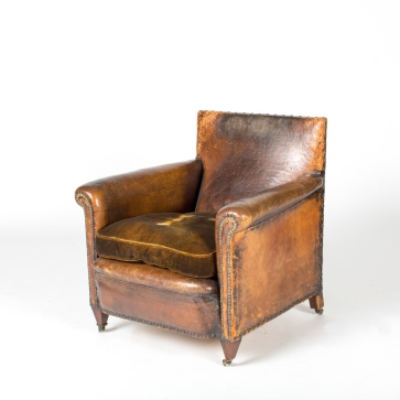 FRENCH LEATHER CLUB CHAIR BB42