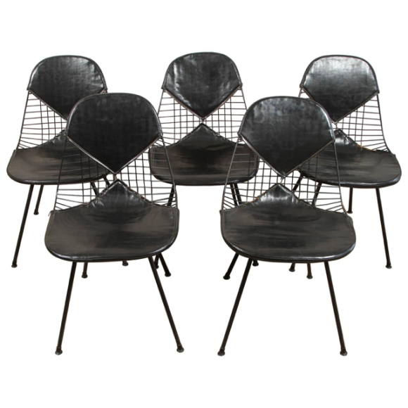 U.S. circa 1950 set of 5 bikini wire Eames chairs (U111015)